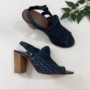 Sundance Blue Leather Woven Open Toe Heeled Sandal